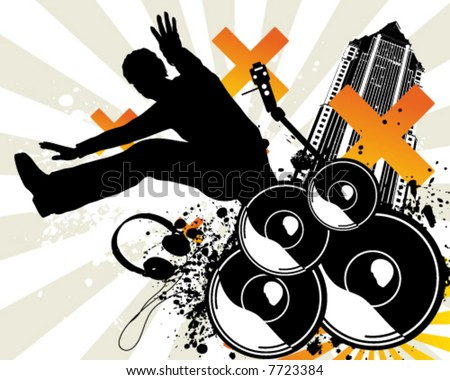 Music Jump - stock vector