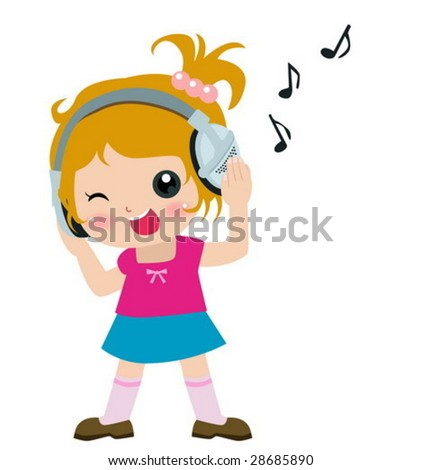 music kid - stock vector
