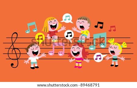music kids - stock vector