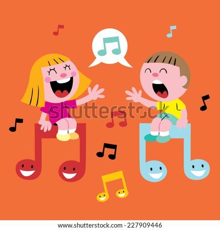 music kids singing - stock vector