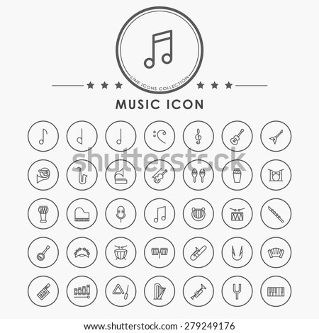 music line icons with circle button - stock vector