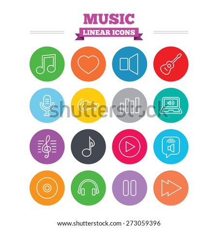 Music linear icons set. Musical note, acoustic guitar and microphone. Notebook, dynamic and headphones symbols. Thin outline signs. Flat circles vector - stock vector