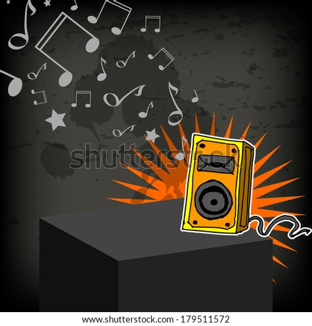 Music loudspeaker hand drawn illustration with musical notes. - stock vector