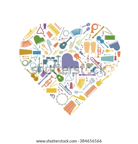 Music Love. Variety of colorful musical instruments symbols arranged in heart shape - stock vector