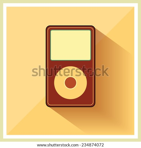 Music Media MP3 Player on the Retro Vintage Background vector - stock vector