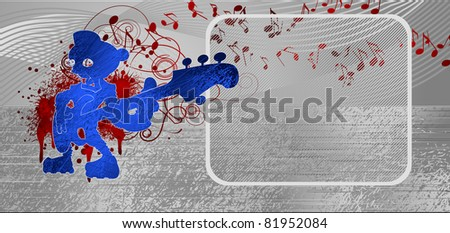 music metallic background.  Background music that can be used for header or footer of site. In illustration - silhouette robot-bassist, many spots and notes. - stock vector