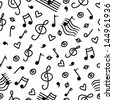 Music monochrome seamless pattern - vector - stock vector