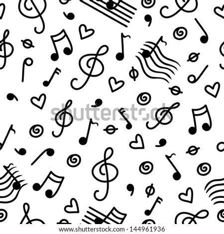 Music monochrome seamless pattern - vector