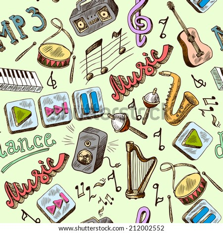 Music mp3 doodles seamless pattern with piano play pause color icons vector illustration - stock vector
