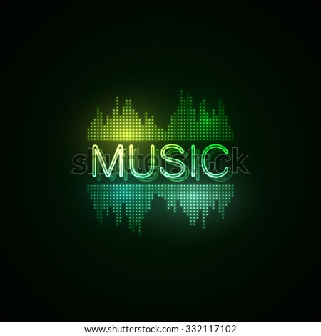 Music neon sign with digital music equalizer. Music party. Vector illustration. - stock vector