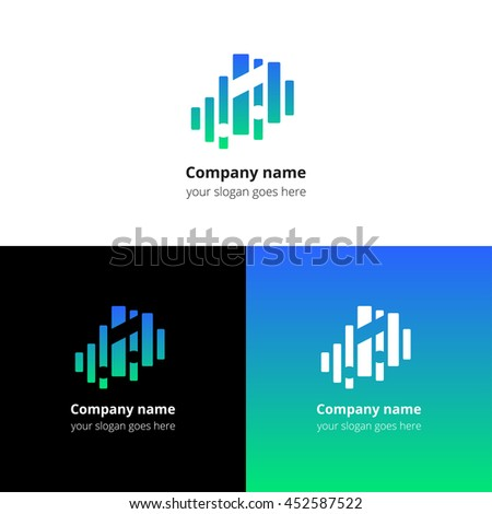 Music note and equalizer beat background flat logo icon vector template. Abstract symbol and button with blue-green gradient for music service or company. - stock vector