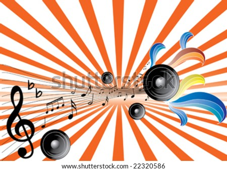 music note and speaker on star background with floral element