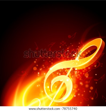 Music note burn in fire vector background. Eps 10. - stock vector