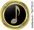 music note button, golden with diamonds, vector illustration - stock vector