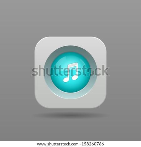 Music Note Button - Vector App Icon - stock vector