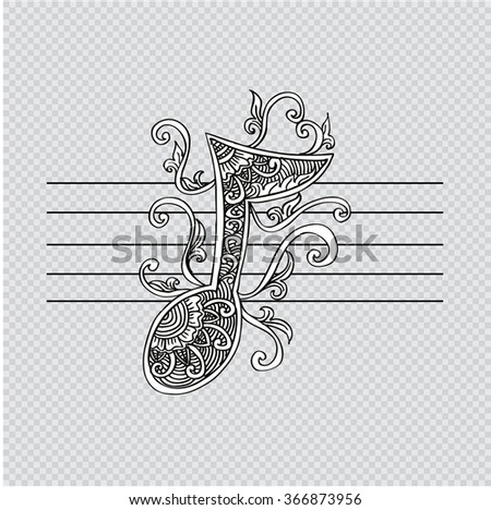 Music note for your design. Hand drawing illustration. - stock vector