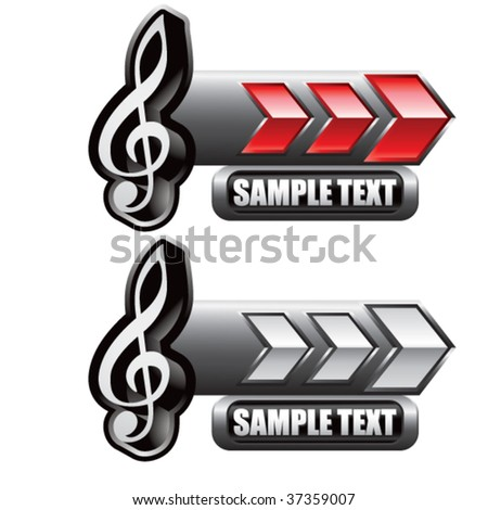 music note icon on red and white arrow banners - stock vector