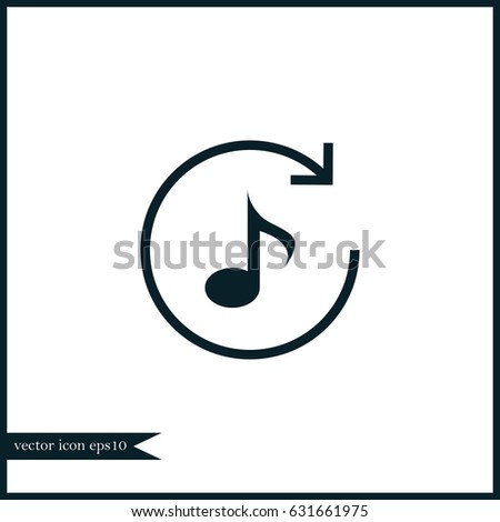 Music Note Icon Simple Repeat Sign Stock Vector 631661975 Shutterstock