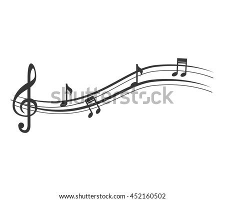Music note in black and white , vector illustration flat icon. - stock vector
