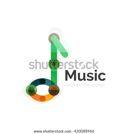 Music note logo, flat thin line geometric design isolated on white - stock vector