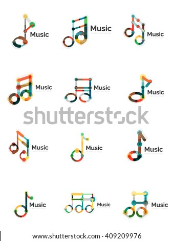 Music note logo set - stock vector