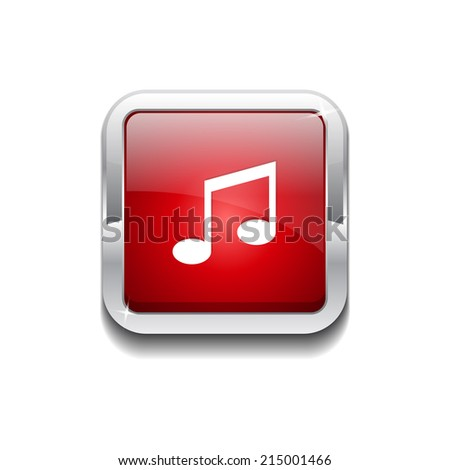 Music Note Rounded Rectangular Vector Red Web Icon Button