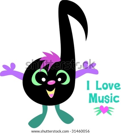 Music Note Saying I Love Music Vector