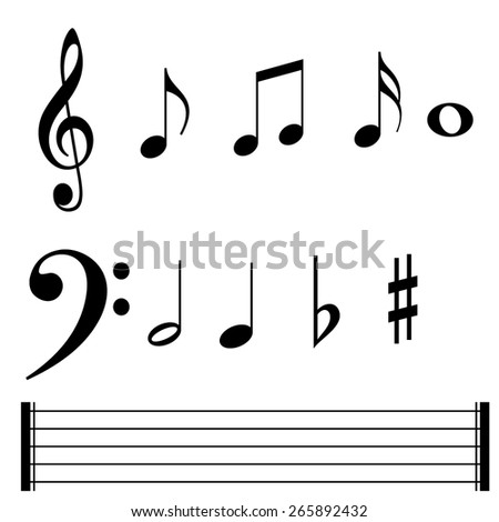 Music note symbols and lines - stock vector