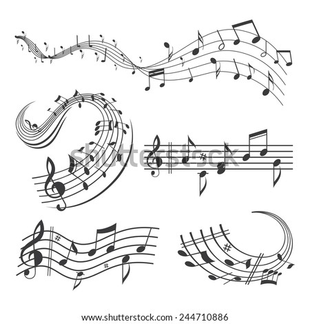 Music Note Wave Sets - stock vector