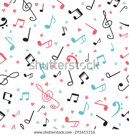 Music notes abstract seamless pattern. Hand drawn background. Vector illustration - stock vector