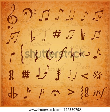 Music notes and signs hand-drawn in sketchy style. Vintage vector illustration.  - stock vector