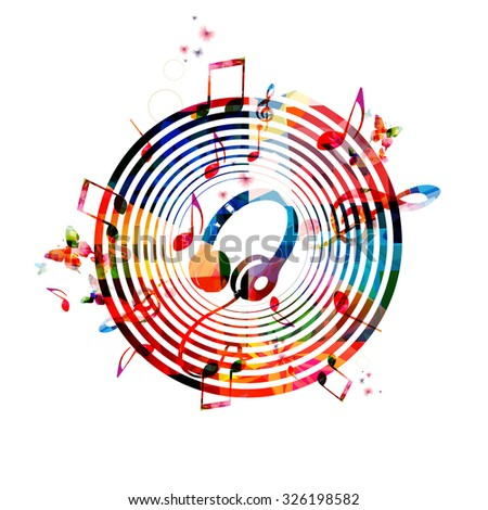 Music notes background with headphones - stock vector