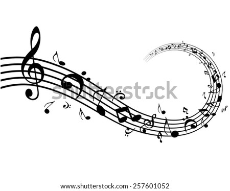 Music Notes Flowing - stock vector