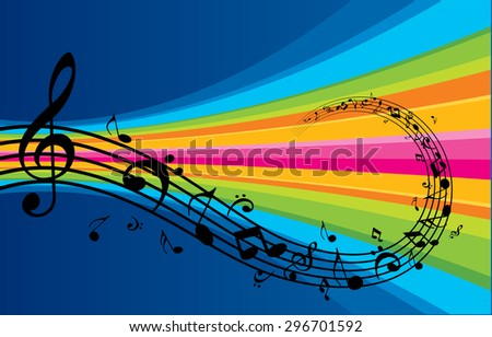 Music Notes Flowing Elements - stock vector