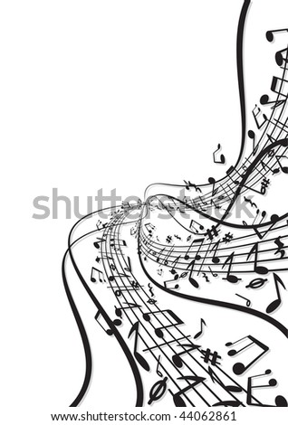 Music notes fresh background - stock vector