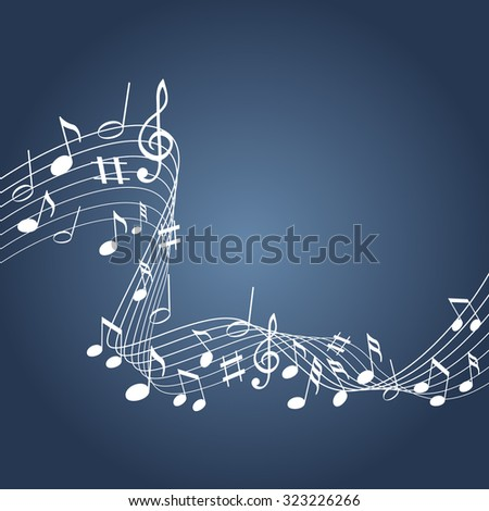 Music notes on a blue background - stock vector