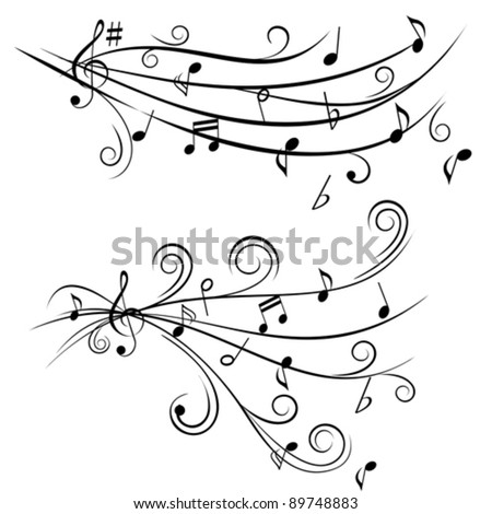 Music notes on swirl shaped staves - stock vector