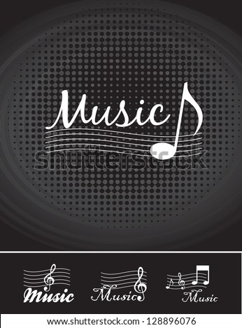 Music notes over black background vector illustration - stock vector