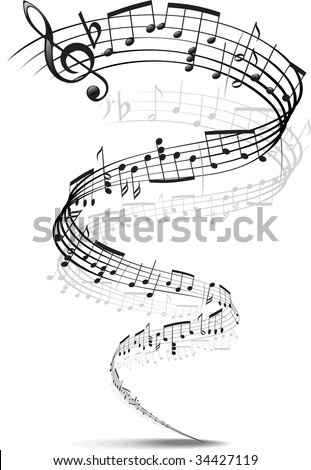 music notes twisted into a spiral - stock vector