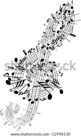 Music notes twisted into Clef - stock vector