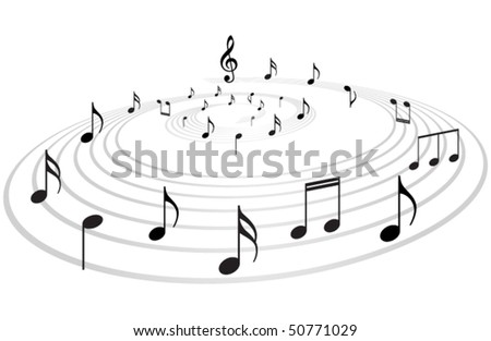 Music notes vector background - stock vector