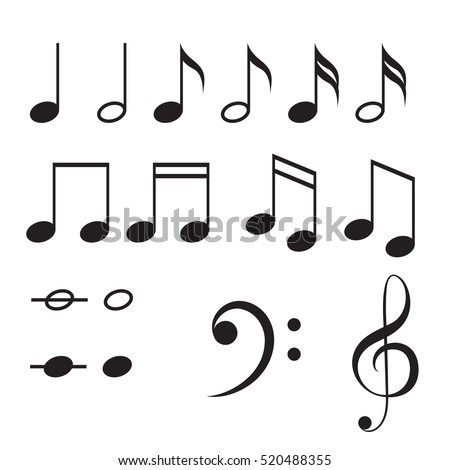 Music Notes Vector Icon Set Black Stock Vector 520488355 Shutterstock