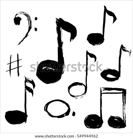 music notes vector illustration grunge stylehand stock photo photo rh shutterstock com Music Note Icon Music Notes