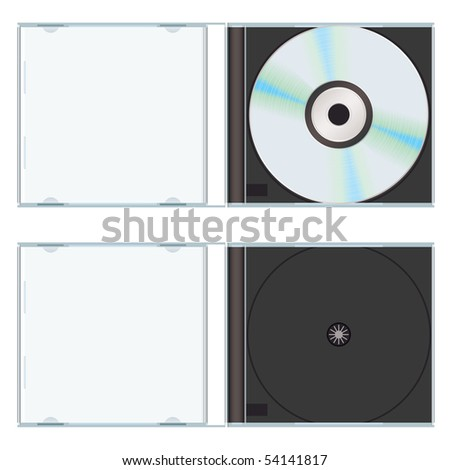 Music or computer cd with plastic case open and empty - stock vector