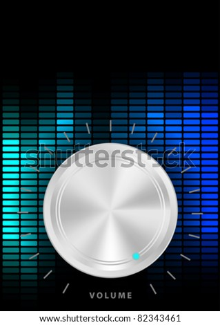 Music Party Background - Amplifier Volume Knob and Blue Equalizer on Dark Background - stock vector