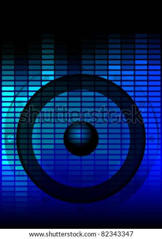 Music Party Background - Loudspeaker and Blue Equalizer on Dark Background - stock vector