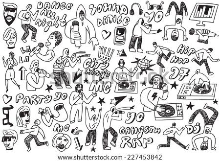 music party - doodles - stock vector