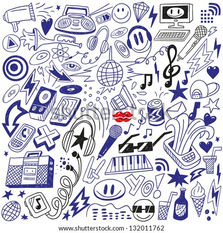 music party - doodles set - stock vector