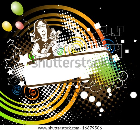 music party on black background - stock vector