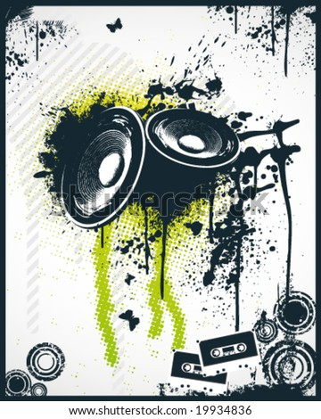 Music Party Poster - stock vector
